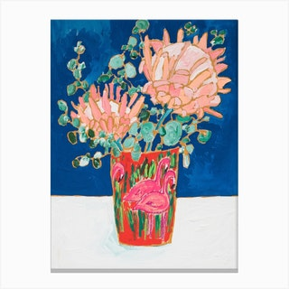 Proteas In Enamel Flamingo Vase Canvas Print