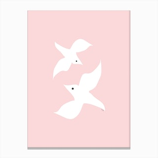 Love Birds In Pink Canvas Print