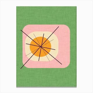 Flower Egg Green Pink Canvas Print