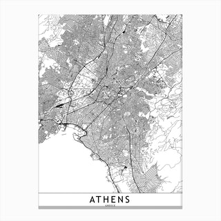 Athens White Map Canvas Print