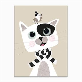 Cat And Bird Best Friends Canvas Print