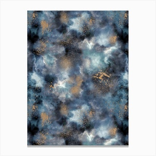Smoky Marble Watercolor Dark Canvas Print