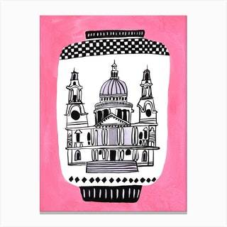 St Pauls Cathedral Pink Canvas Print