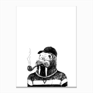 Hipster Walrus Canvas Print
