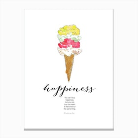 Happiness is Ice Cream Canvas Print