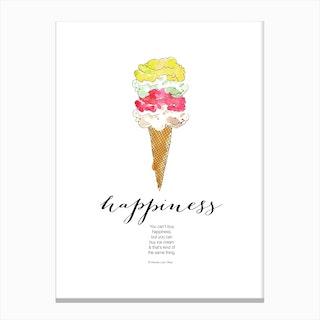 Happiness is Ice Cream Canvas Print