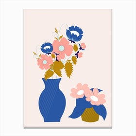 Pink Blue And Gold Vases With Flowers Canvas Print