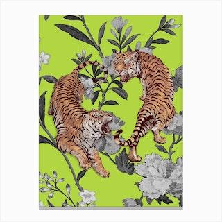 Tiger Floral Vintage Green Illustration Canvas Print