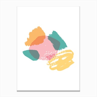 Abstract Pink and Teal Crazy Shapes Canvas Print