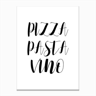 Pizza Pasta Vino Canvas Print