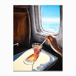 Glass In Airplane Canvas Print
