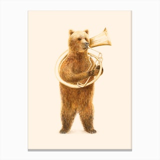 The Bear And His Helicon Canvas Print
