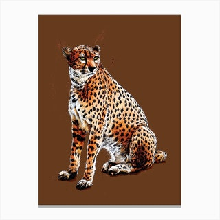 The Cheetah On Roast Peach Canvas Print
