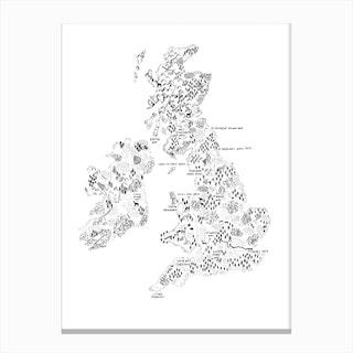 Uk And Ireland Walking Map Print Canvas Print