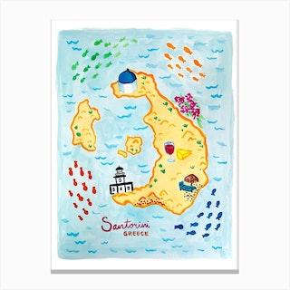 Santorini Map Canvas Print