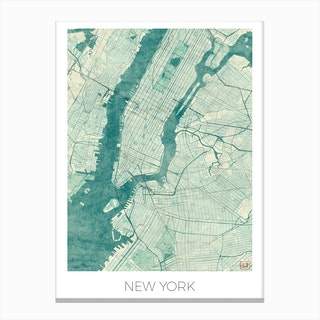 New York Map Vintage in Blue Canvas Print
