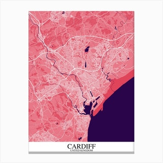 Cardiff Pink Purple Map Canvas Print