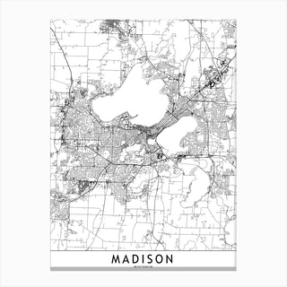Madison White Map Canvas Print