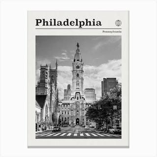 Philadelphia Black And White Canvas Print