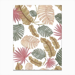 Nature Color Hand Drawn Tropical Leaves Pattern Canvas Print