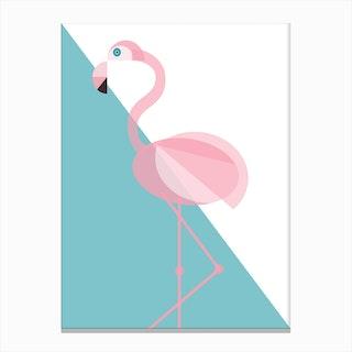Geometric Flamingo Canvas Print