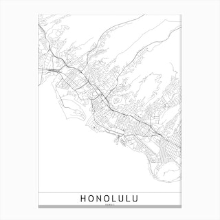 Honolulu White Map Canvas Print