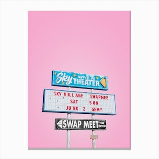 Vintage Sky Drive In Theater Swap Meet Sign In Yucca Valley Canvas Print