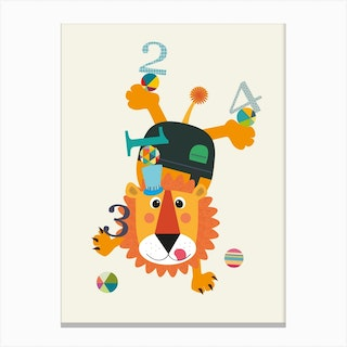 Lion Playing With Numbers Canvas Print