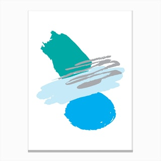 Teal and Blue Abstract Paint Shapes Canvas Print