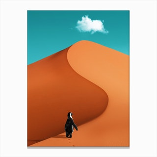 Penguin On Vacation Canvas Print