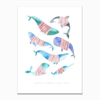 Whales Stripes Canvas Print