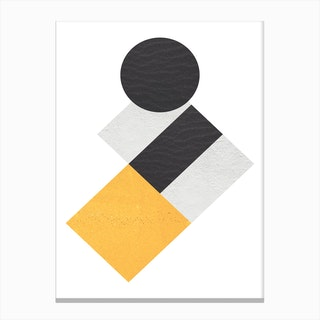 Yellow Grey and Black Rectangles with Circle Abstract Canvas Print
