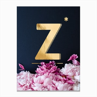 Flower Alphabet Z Canvas Print