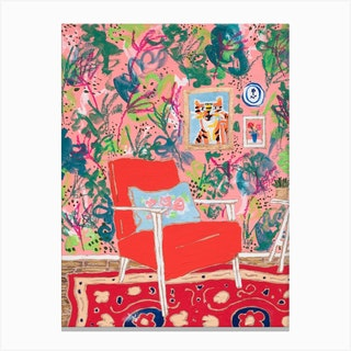 Red Mid Century Chair Interior With Tiger Canvas Print
