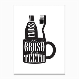 Brush Your Teeth Silhouette Canvas Print