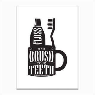 Brush Your Teeth Silhouette Canvas Print