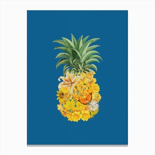 Pineapple Blue Canvas Print