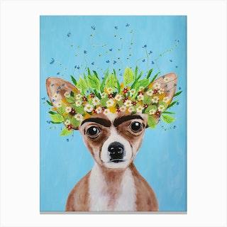 Frida Kahlo Chihuahua Canvas Print