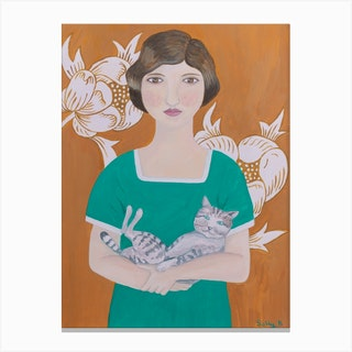 2 Woman In Green Dress With Cat Canvas Print