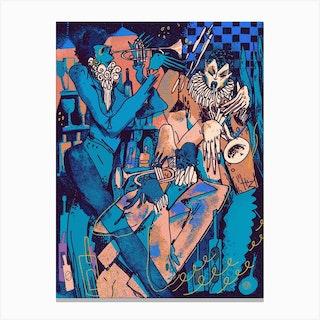 Trumpet Triplet Midnight Canvas Print