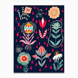 Floral Rain Canvas Print