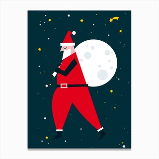 Christmas Santa Moon Canvas Print