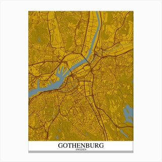 Gothenburg Yellow Blue Canvas Print