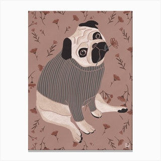 Pug With Pink Tones Canvas Print
