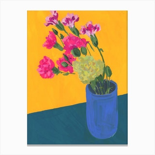 Carnations In A Japanese Tea Cup Canvas Print