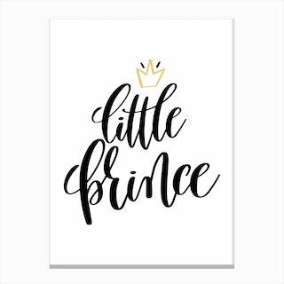 Little Prince Black Canvas Print