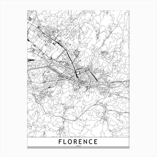 Florence White Map Canvas Print