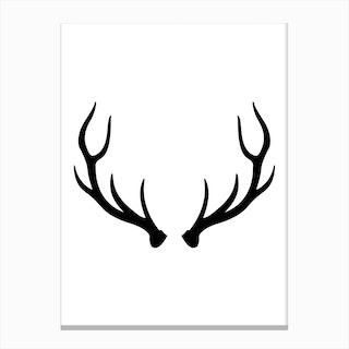 Black Antlers Canvas Print