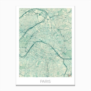 Paris Map Vintage in Blue Canvas Print