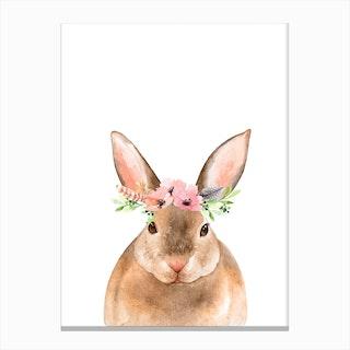 Floral Rabbit Canvas Print